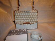 BRAHMIN OPHELIA WHITE BORA LEATHER/CANVAS SATCHEL BAG/PURSE K10688WH