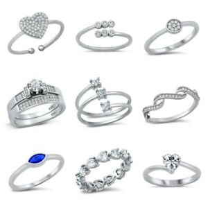 Sterling Silver 925 NEW DESIGN CLEAR CZ RINGS SIZES 4 to 10