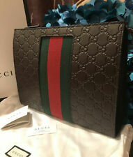 Stunner Authentic Gucci Signature Web Pouch Clutch Bag Limited Edition NWT Cocoa