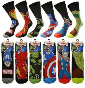 Men's Character Marvel Socks Adult Size 6-11 Official Avengers Novelty DC Theme