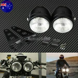 Black Twin Headlight Motorcycle Double Dual Lamp Mount Street Fighter Universal