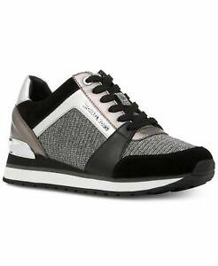 Michael Kors Women's Billie Trainer Leather Metallic Sneakers Black Shoes SZ 9