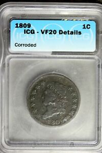 1809 - ICG VF20 DETAILS (CORRODED) Classic Head Half Cent! #B24389