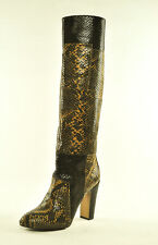 7 for All Mankind Women's Frederica Cognac Snake Print Knee High Boot 7.5 M