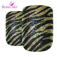 False Nails Gold Black French Manicure Bling Art 24 Fake Medium Tips 2g Glue