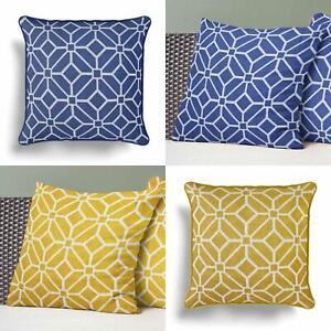 "Geometric Cushion Cover Navy Ochre Abstract Print Cushions Covers 18"" x 18"""