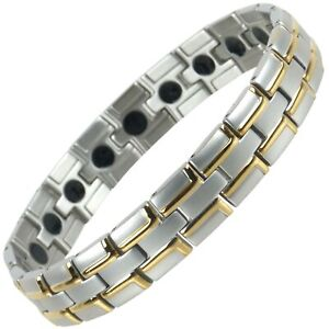 Mens Magnetic Stainless Steel Bracelet with Gold & Chrome Finish Strong MAGNE