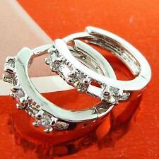 HUGGIE HOOP EARRINGS REAL 18K WHITE G/F GOLD DIAMOND SIMULATED DESIGN FS3A001