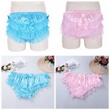 Men Sissy Lingerie Satin Ruffled Lace Panties Boxer Brief Bikini Thong Underwear