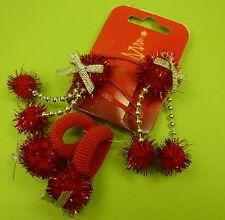 4 Teile Weihnachten Nikolaus Lametta rot Damen Mädchen Haarclips Haargummi - NEU