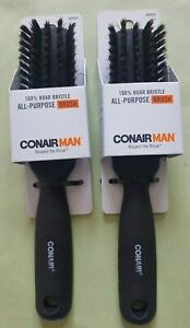 Conair Man 100% Boar Bristle All-Purpose Brush Black (LOT OF 2)