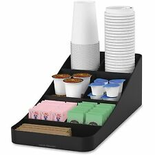 "Mind Reader Trove 7-Compartment Coffee Condiment Organizer Black 7 3/4"" x 16"""