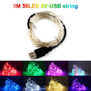 10M 50LED 5V Silver Wire String Lights Outdoor Energy Saving USB String Lights