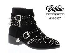 Buffalo Booties da Donna Forma Rotonda VELLUTO NERO 37 NUOVO 416-6967 m684