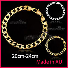 24K PLAIN GOLD FILLED CURB RING LINK CHAIN MENS WOMENS BANGLE BRACELET XMAS GIFT