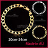 24K PLAIN GOLD FILLED CURB RING LINK CHAIN MENS WOMENS BANGLE BRACELET XMAS GIFT