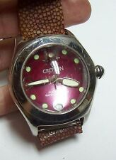 Vintage CROTON Raspberry Colored Dome Watch