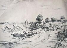 "GEORG SAMWOLD AUSTRIAN LITHO ""BOATS WITH FISHING NETS"" 1935"