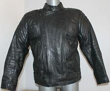 Mens Vintage Biker Jacket 100% Black Leather Cafe Racer Moto DoubleZip Brando 44