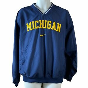 Nike MICHIGAN Wolverines Mens Medium Blue Pullover Windbreaker Coat Jacket EUC