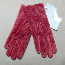 Women's Gloves Leather Isotoner New w/ Tag Suede Small Raspberry Red 6