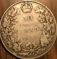 1917 CANADA SILVER 50 CENTS COIN