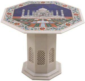 "24"" White Marble Coffee Table Top Taj Mahal Handmade Inlay Decor With Stand W491"