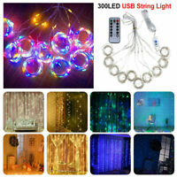 300 LED Fairy String Lights Curtain Window Wedding Party Decor Remote Outdoor US