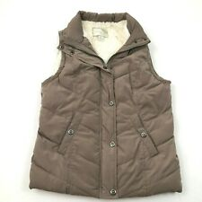 Green Tea Womens Puffer Vest Fuzzy Sherpa Gilet Insulated Turtleneck Quilted