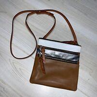 Dooney & Bourke leather triple zip crossbody Bag Brown Silver  North/south