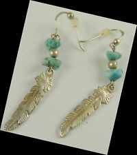Sterling Silver Pierced Earrings Turquoise  & Feather