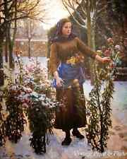 The Last Flowers by Jules Breton Art Woman Garden Snow Cut Bloom 8x10 Print 0946
