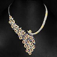Pear Rhodolite Garnet Tanzanite Gems 925 Sterling Silver Peacock Necklace 17inch