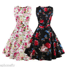 Rock N Roll Retro Vintage 50S HOUSEWIFE Petticoat FLORAL Party Swing Pinup Dress