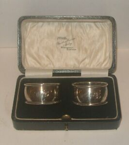 2 sterling silver napkin ring C P & CO Chester DAVIDSON HENDERSON & SORLEY BOXED