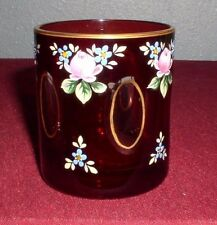 """VINTAGE CZECH BOHEMIAN CRYSTAL CUT CRANBERRY RUBY GLASS TUMBLER HAND PAINTED 3"""""""