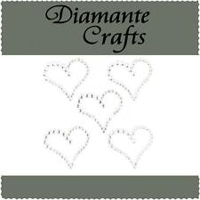 5 Clear Diamante Hearts  Self Adhesive Rhinestone Craft Embellishment Gems