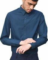 Mens Formal Long Sleeve Navy Shirt Slim Fit Casual Office Work Shirts UK S - XXL
