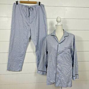 Brooks Brother's Size M Long Sleeve Pajama Set Plaid Blue Men's Cotton
