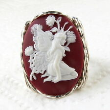 Butterfly Fairy Cameo Ring .925 Sterling Silver Jewelry Plum Resin Any Size