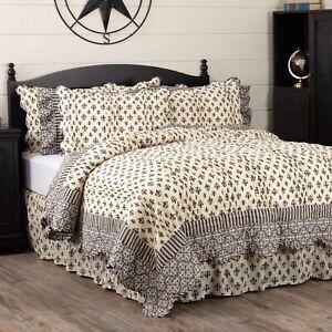 VHC Brands Farmhouse King Quilt Black Patchwork Elysee Cotton Bedroom Decor