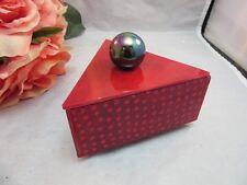 Red Hand crafted studio art glass triangle geometric trinket, jewelry box