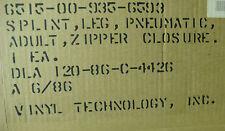 USGI ADULT LEG SPLINT PLASTIC PNEUMATIC INFLATABLE ZIPPER CLOSURE 37.5 INCH NEW