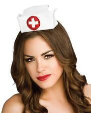 White Satin Mini Nurse Hat Doctor Fancy Dress Halloween Adult Costume Accessory