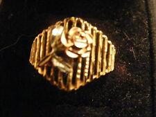 14K SOLID YELLOW GOLD TRI-COLOR DIAMOND-CUT ROSE FLOWER RING~SZ 9~EUC!