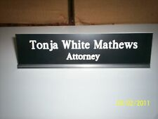 Personalized engraved sign,  desk name plate w/ holder