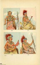 Original George Catlin Lithograph Native American Plate Iowa