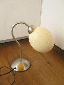 Straußenei-Lampe Nachttischlampe Tischlampe silberfarben H:ca.28 cm  Ei-Øca.21cm