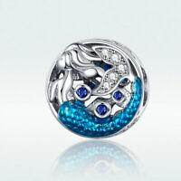 Voroco 925 Sterling Silver Mermaid Pendant Bead Charm CZ To Bracelet Necklace