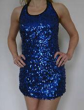 Blue Sequin Stretch Tank Top Robe Dos Nu Sans Manches Soirée Sexy Mini Clubwear